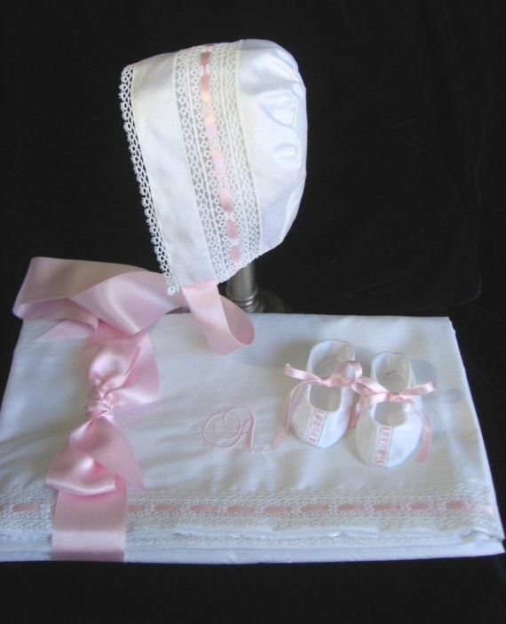 Silk Baby Gift Ensemble  Bonnet Booties by embroideredheirlooms,