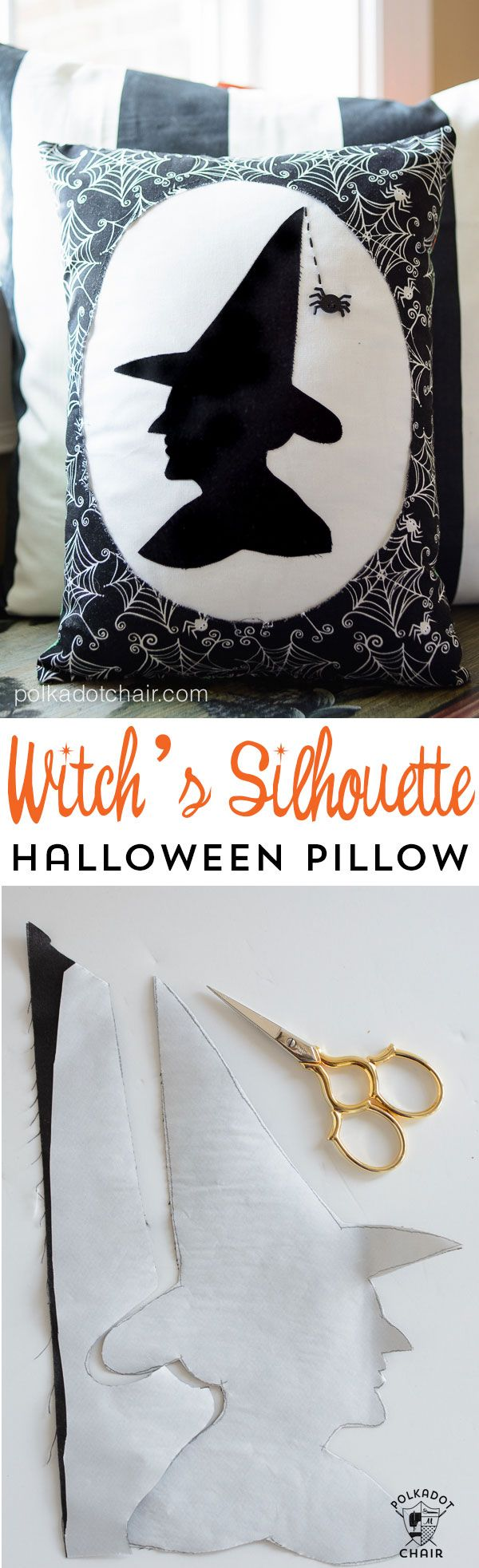 """""""Witch's Silhouette"""" A Halloween Pillow Pattern from polkadotchair.com"""