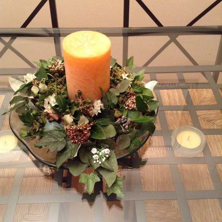 Centro con vela y flores secas centros de mesa - Centros de mesa con pinas secas ...