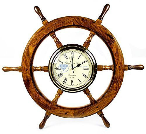 Premium Nautical Hand Crafted Brass Time's Clock Wooden Ship Wheel | Pirate's Wall Decor | Home Decorative Gifts | Nagina International (30 Inches) Premium Nautical Ship Clock! These are completely handcrafted Wooden Decorative Clock Ship Wheels! The...