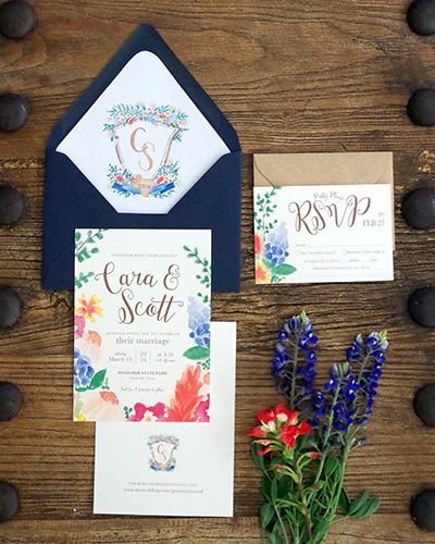 Texas Wildflower Wedding Invitation Suite with hand painted watercolor crest for a rustic wedding with navy and kraft paper brown