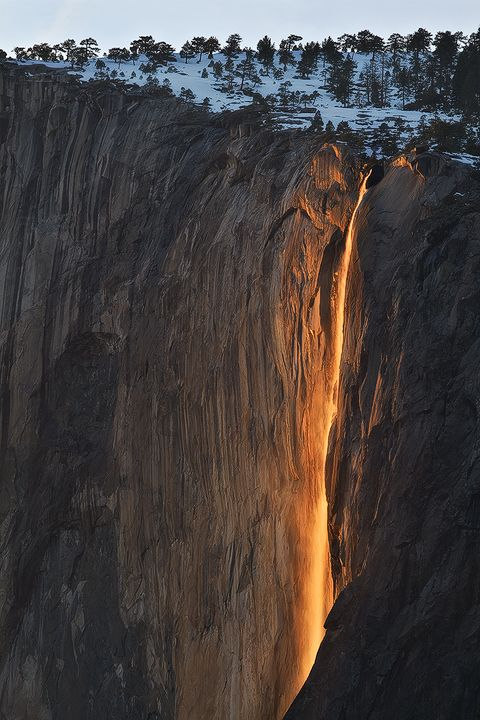 In Yosemite National Park there is a window in the month of February if the conditions are perfect, sunset light will only strike the waterfall....WOW!!
