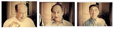 Joe Besser, Larry Fine, Moe Howard.