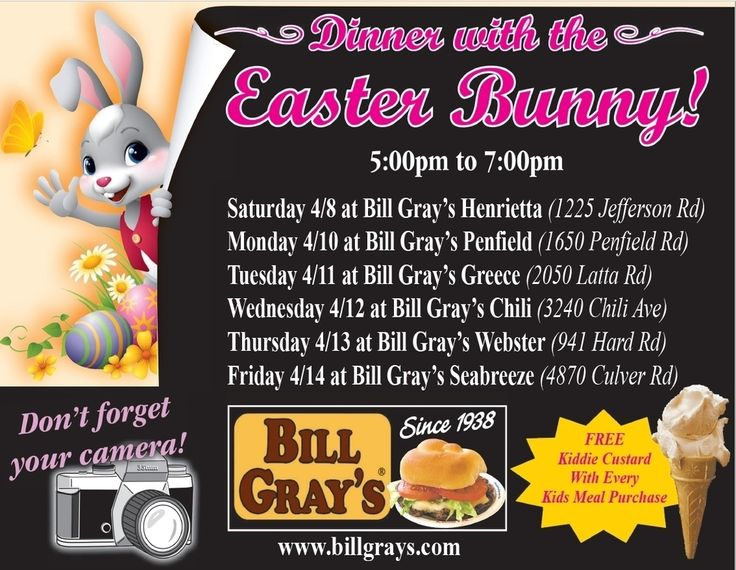 The Easter Bunny will be at our Penfield location tonight! #Penfield #BillGrays #Easter #FunForTheFamily