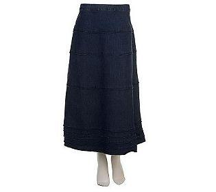 $34.50 Denim & Co. Tiered Long Denim Skirt