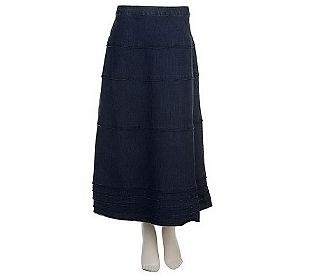 $34.50 Denim & Co. Tiered Long Denim Skirt