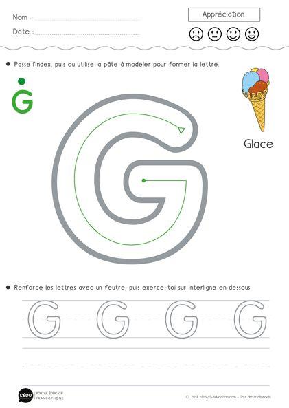 Superbe support sur Apprendre à écrire la lettre G en capitale d'imprimerie