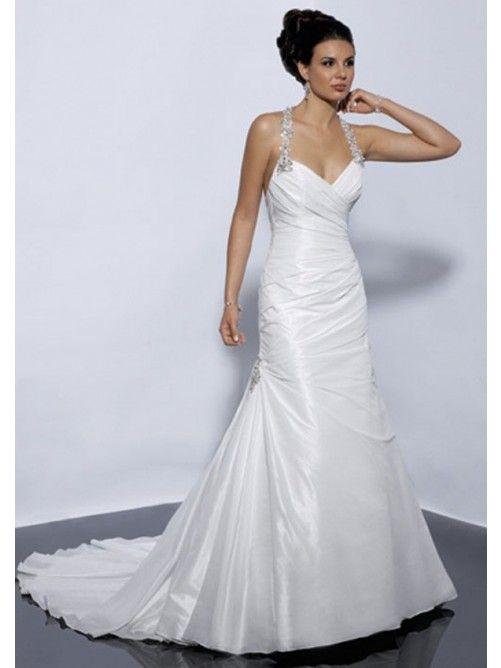 A-Line Halter Sweetheart Neck  Taffeta Backless Bridal Wedding Gowns