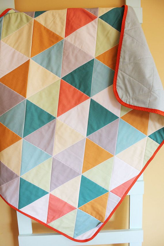 Gray Grey Geometric Triangle Quilt By Petunias Blanket