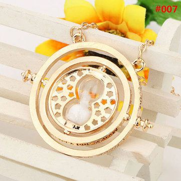 Time Turner Rotating Hourglass Pendant Necklace Gold Silver Plated at Banggood