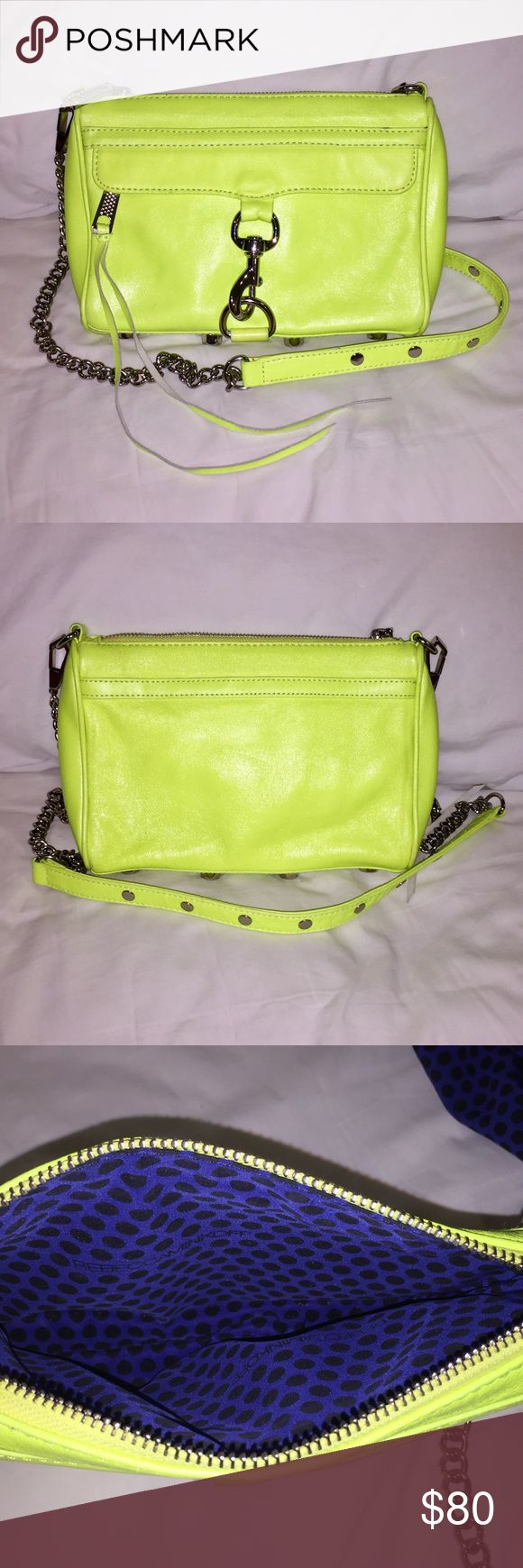 """Rebecca Minkoff Neon Yellow Mini M.A.C. Crossbody A petite take on Rebecca's classic M.A.C. clutch, this handbag is much roomier than it looks. It's big enough to fit your phone, keys, wallet and makeup essentials, but sleek enough so that it won't weigh you down. Wear it on your shoulder or crossbody with the adjustable chain strap. Bright cheerful neon yellow leather with silver chain and hardware. Barely used: in excellent condition with original dust bag and cards.9""""W x 1.5""""D x 6.5""""H…"""