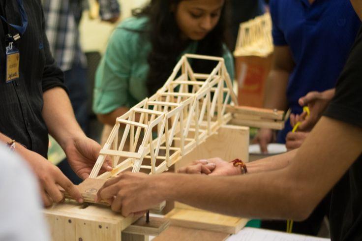Bridge model making competition bringing out students' creativity in designing truss bridges