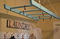 get a ladder, paint it, hang it up, & dry your laundry: Ideas, Wooden Ladder, Laundry Rooms, House, Drying Racks, Laundryroom
