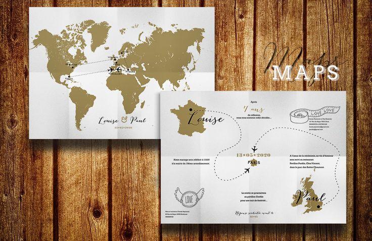 Faire part de mariage original en forme de carte du monde globe terrestre mariage theme voyage - Theme mariage original ...