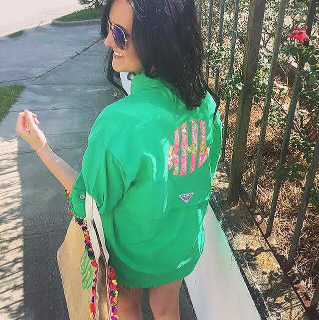 Girls just wanna have {sun}☀️ and our #LillyPulitzer Monogrammed Columbia Fishing Shirt, of course! How great is the #PreppyGreen color we just got in?! Click the link in bio to #shoptantrum for this and so much more! #monogrameverything #throwatantrum