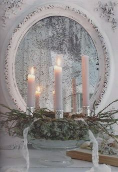 opulant gold silver white christmas mantel - Google Search