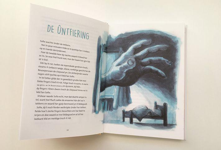 'The snatch / De ontvoering'  Illustratie voor de GFR. Crayon & Acryl om paper By studio Hille  /  Hilda Groenesteyn Lay out / Bookdesign by Peter Boersma http://studiohille.nl/illustraties/ #GVR #BFG #Roald Dahl