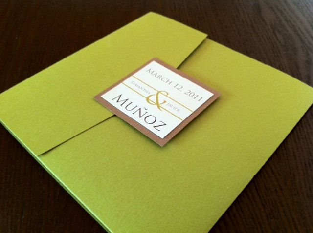 Pocket Fold Wedding Invitation. $5.75, via Etsy.