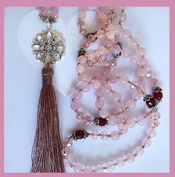 MORE LOVE! you can never have too much of it! Rose quartz is the stone of love, opening the heart chakra to bring an abundance of love to the wearer, romantic, plutonic, family & friendship & unconditional. This is a very powerful stone that can bring love & serenity. This Mala is subtle, understated & full of goodness!  http://misssallysmith.com/?page_id=660