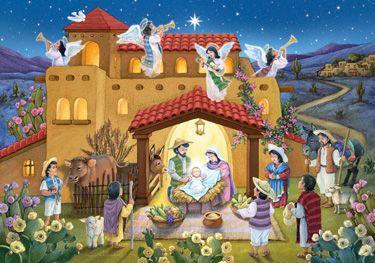 Noche de Paz Advent Calendar by Randy Wollenmann | Medium Religious<br>Advent Calendars | Vermont Christmas Co. VT Holiday Gift Shop