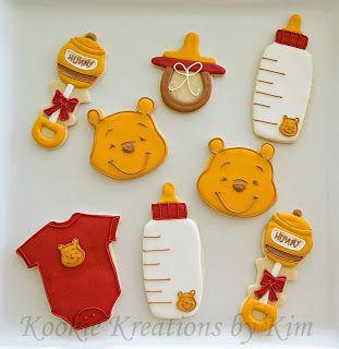 Winnie the Pooh baby shower cookies - Kookie Kreations by Kim