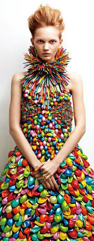 "Amazing dress made from balloons. I hope the designer put a label inside saying ""Don't put in dryer"" lol"
