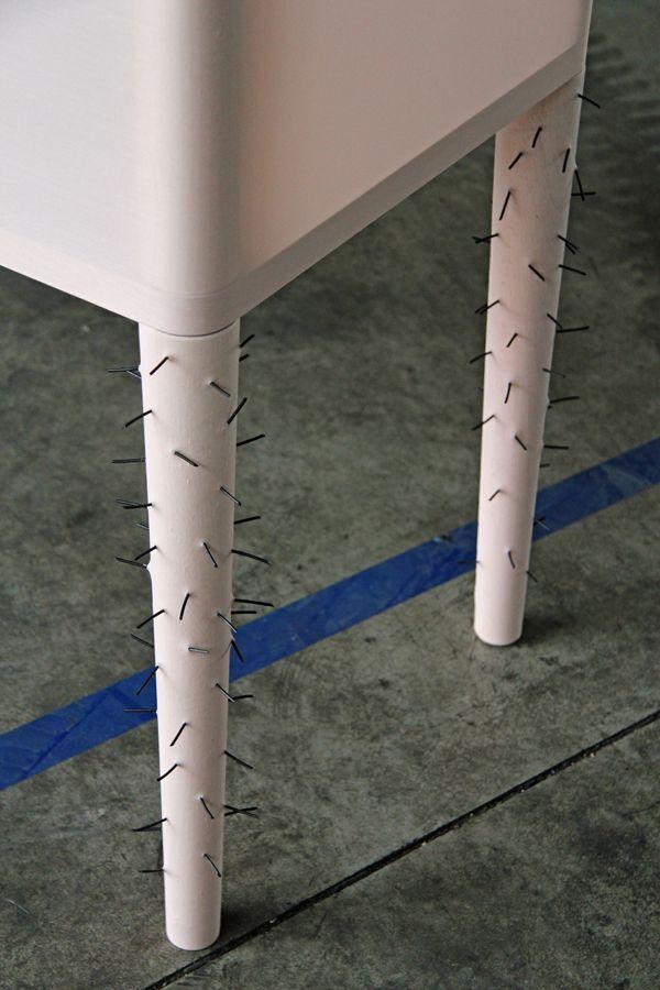 hairy legs! la consolle fatale design by silvia guarnieri www.silviaguarnieri.eu and www.spectacularch.com francesca perani sandra marchesi exhibited at VENTURALAMBRATE FUORISALONE2014 www.laconsollefatale.tumblr.com textile furniture design / dressed and naked furniture / furniture and fabric