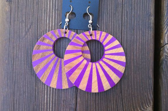 Purple wood earrings nickel free by MayaDesignFinland on Etsy