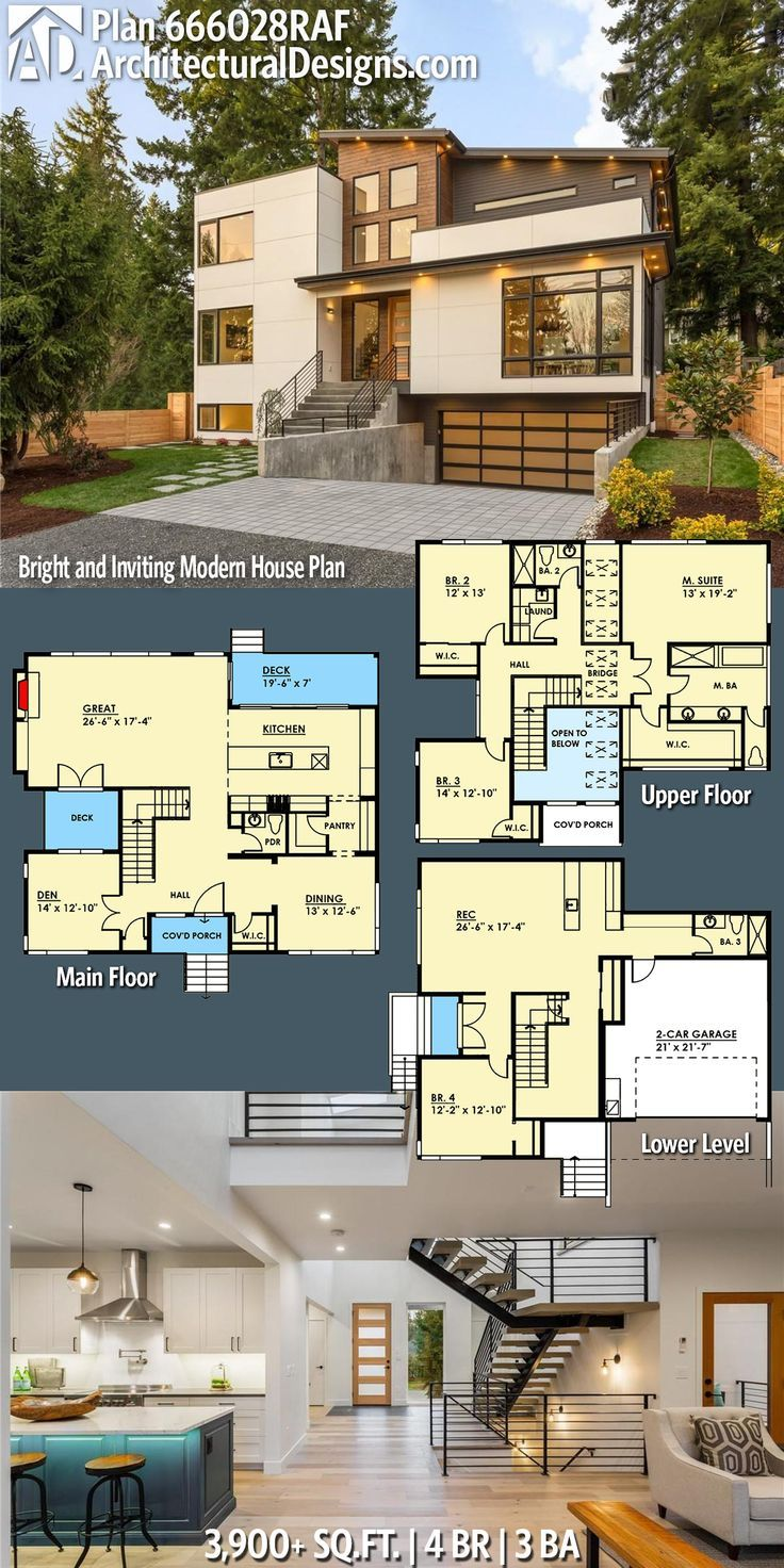 Plan 666028raf Bright And Inviting Modern House Plan Modern House Plan House Plans Sims House Plans