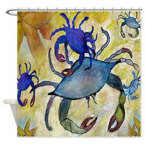 "Sandy Blue crab coastal beach shower curtain from my art. Size 70"" x 70"" 100% softened polyester, Machine washable Standard size with 12 stitch-enforced eyelets for hanging,Custom sizes available. Con"