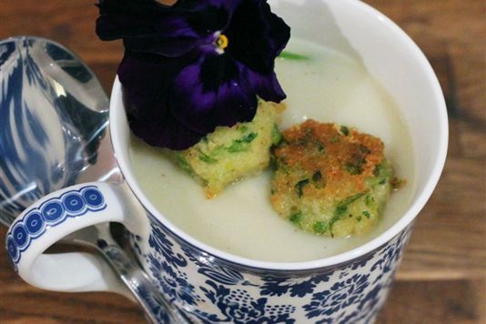 Cauliflower and celeriac soup with little brown rice fish cakes recipe