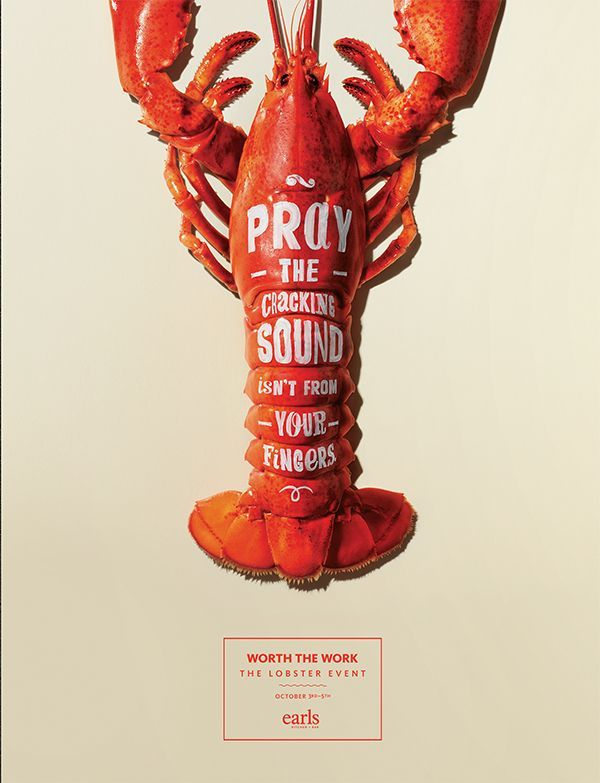 This is a very simple poster that gets the point across - it's an event where lobsters will be served.