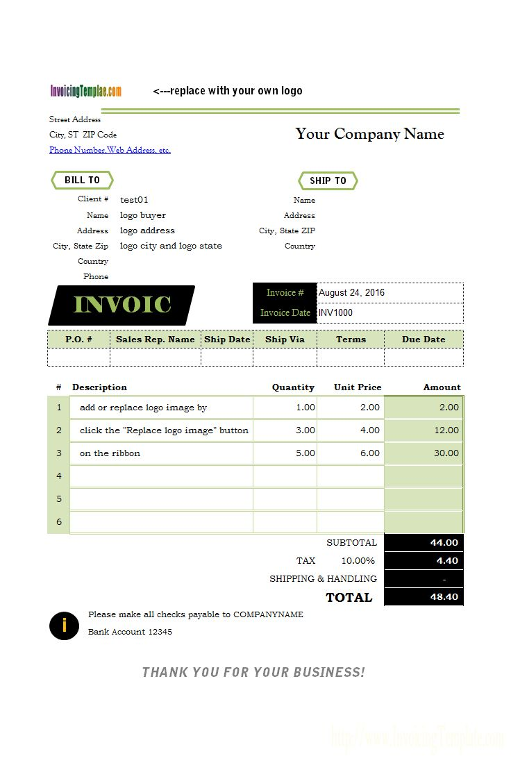 Invoicing Format with Logo
