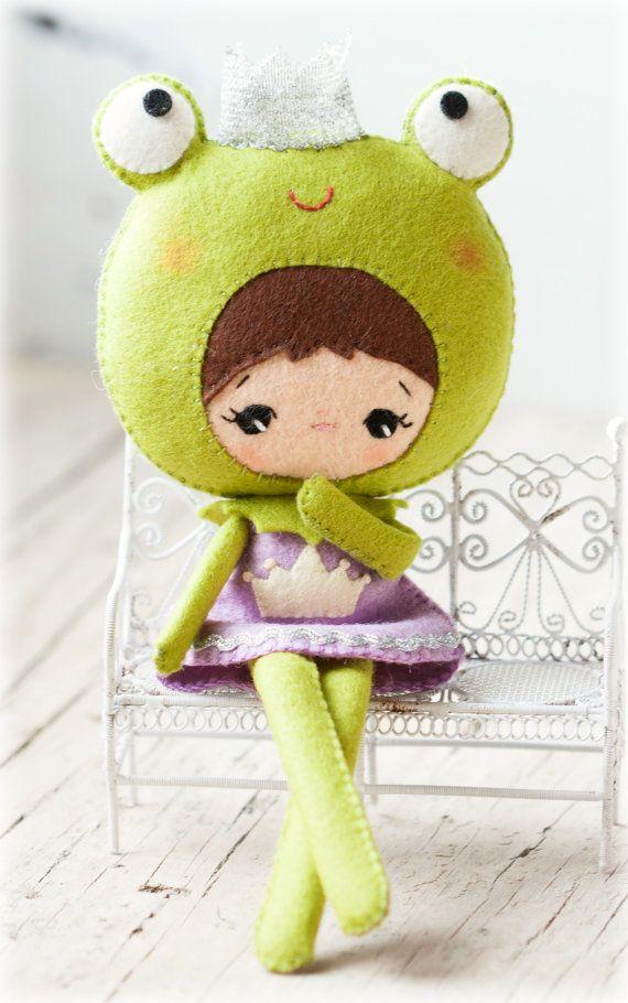 Prinzessin FroschPuppe. Plüsch Puppe Muster Softie von Noialand