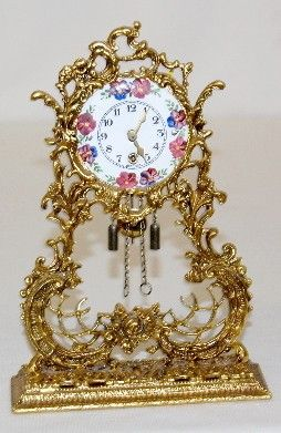 Antique Clock Details  VERY PRETTY & ORNATE W' ROSES ON THE FACE<3<3<3 @