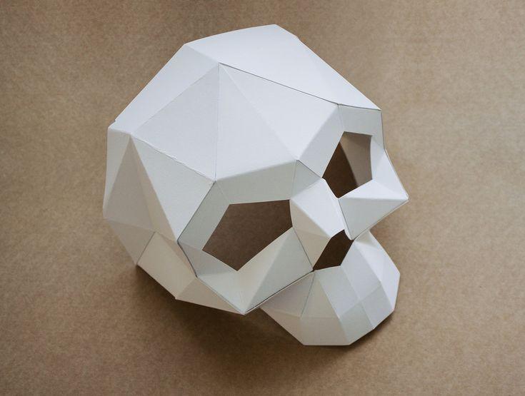 Half Skull Mask Diy Printable Got Head Instant Pdf Download Diy Halloween Paper Mask Printable Mask Polygon Masks Halloween Diy Paper Paper Mask Diy Mask