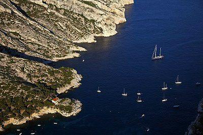 France, Bouches-du-Rhône, Marseille, Calanque of Sormiou, village and sea, aerial view, 42-34052853, Fotochannels
