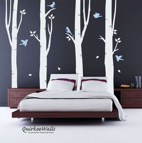 Birch Tree (white) Large decal set, Birch trees, Birch forest, Nursery Birch Trees Birds Wall Vinyl
