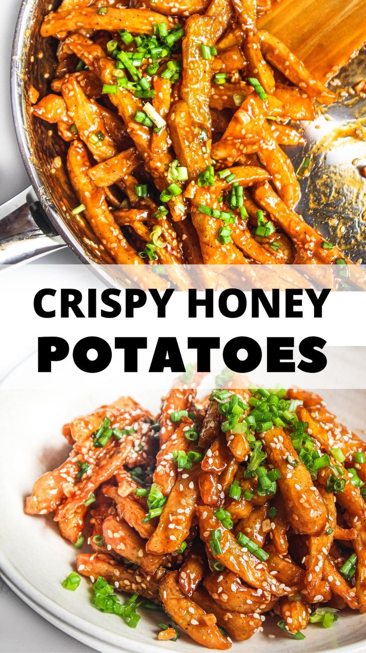 Insanely crunchy, delicious, slightly sweet and spicy crispy honey chilli potatoes for those undeniable indo-chinese cra…