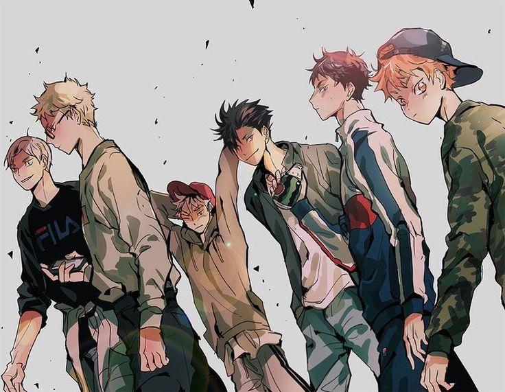 Lev, Tsukishima, Bokuto, Kuroo, Akaashi and Hinata