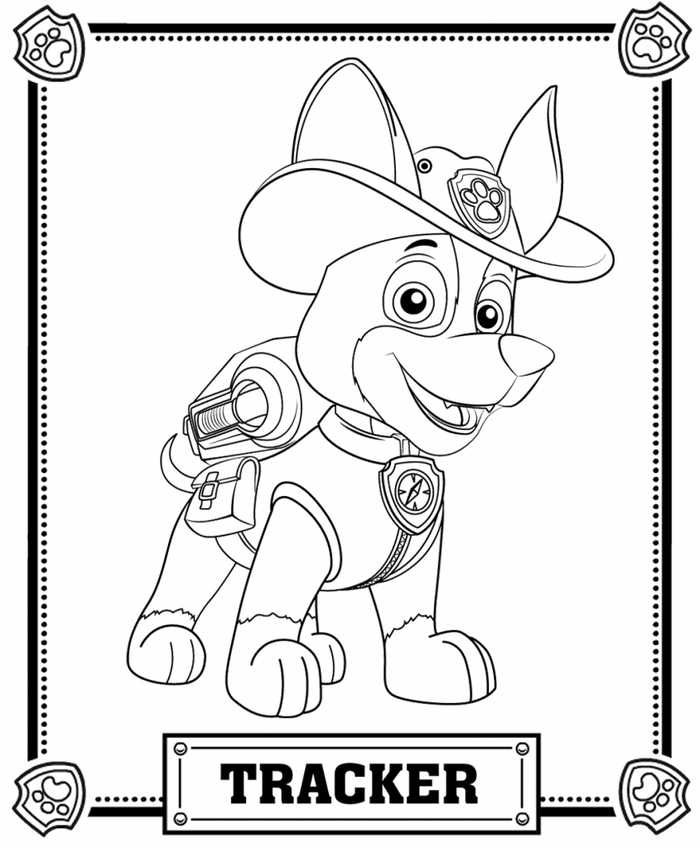 tracker paw patrol coloring page
