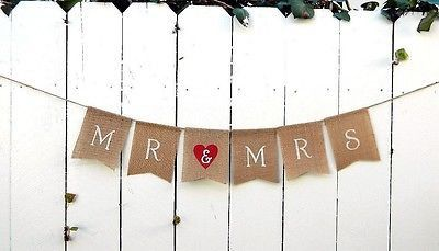 Mr and Mrs Burlap Red Heart Wedding Banner Photo Prop Rustic Flag Banner
