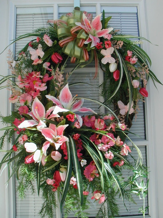 Spring Summer Pink Sprays Lilies Butterflies Spider Plant Woodsy Garden Door Wall Hanging Decor Arrangement Wreath. $139.00, via Etsy.