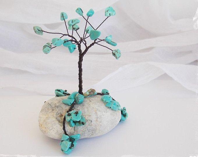 December Wire Tree Sculpture, Metal Tree Sculpture, Bonsai Wire Tree, Sqiritual Mini Tree, Wire Wrap Tree Sculpture, Turquoise Wire Tree