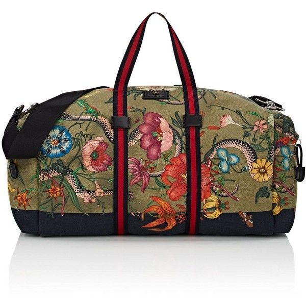 Gucci Men's Floral- & Animal-Print Weekender Bag ($1,450) ❤ liked on Polyvore featuring men's fashion, men's bags, mens bag, mens canvas weekend bag, men's weekender, mens weekend bag and mens canvas weekender bag