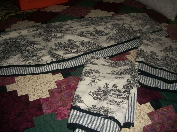 3 Waverly Garden Room  TOILE Curtain Window VALANCE Black Cream Ticking Stripe  sari but i