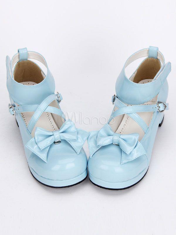 699cf2205f8c Sweet Lolita Shoes Light Blue Cross Bow Cute Lolita Shoes Ankle Strap Low  Heels Lolita Pumps With Detachable Bow  Light
