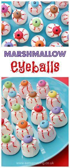 Easy marshmallow eyeballs recipe - fun Halloween food for kids - perfect for creepy Halloween party food - Eats Amazing UK #Halloween #partyfood #halloweenparty #funfood