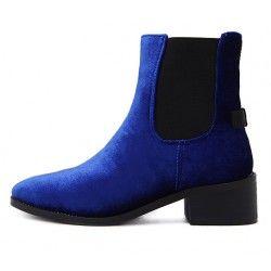 Blue Royal Velvet Suede Back Bow Chelsea Punk Rock Flats Boots Shoes
