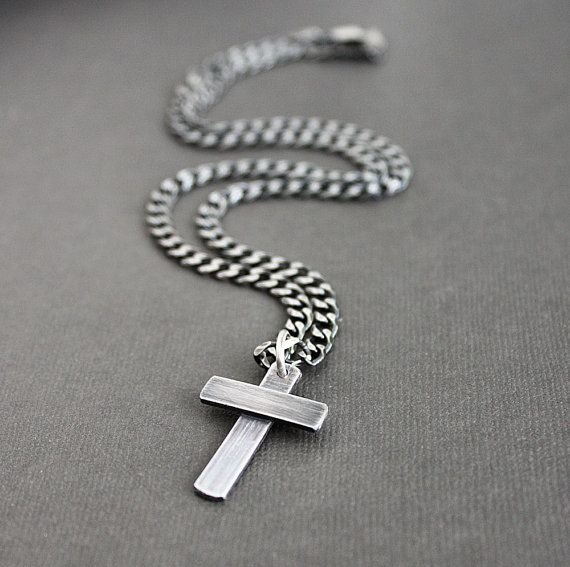 Mens silver cross necklace oxidized heavy link curb chain silver silver necklace for men source aloadofball